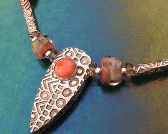 Tribal Shield Fine Silver Box Bead, Lampwork and Coral Cabochon Necklace