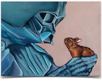 """Sticker- Star Wars Darth Vader with Baby Brown Bunny Vinyl Bumper Sticker  Size: 4"""" x 3"""" from original Artwork"""