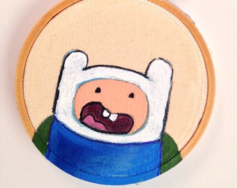 Adventure Time Finn The Human Original Acrylic painting on Embroidery 3inch round Hoop