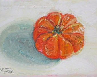Mini Orange Pumpkin original still life fall painting by Polly Jones