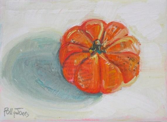 Mini Orange Pumpkin original still life fall painting by Polly Jones