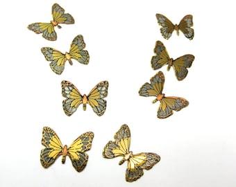 Vintage Tritone Butterfly Charms (6X) (V154)