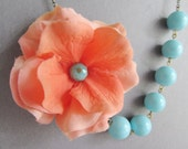 Statement Necklace,Coral Flower Necklace,Coral Necklace,Flower Necklace,Bridesmaid Necklace,Aqua Necklace,Coral Jewelry,Aqua Jewelry,Gift