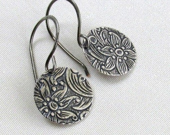 Dainty Floral Disc Earrings, Antique Silver Embossed Dangles, Handmade Artistic Silver Earwire - Choice of Earwire Style