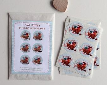 ON SALE - Owl Family Sticker Set of 54 Round 1-inch stickers - cute owl family sticker set illustrated by Stephanie Fizer Coleman
