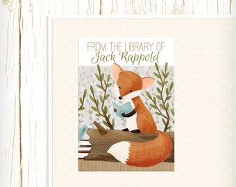 Personalized Bookplates - Bookish Forest Fox - Set of 18 - kids bookplates orange blue green woodland animal