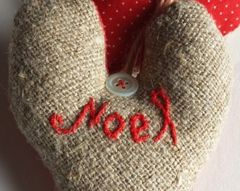 Christmas scented heart decoration NOEL rustic