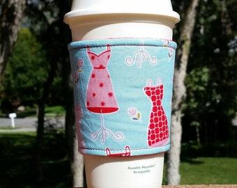 Fabric coffee cozy / cup holder / coffee sleeve / coffee cozies / beverage holder / beverage sleeve -- Dressmaker