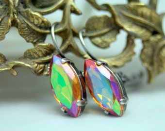 Golden Fire Swarovski Element Leverback Earrings Topaz AB Antique Silver Petite 1 Inch