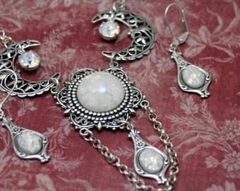 Bella Luna White Fire Opal Crescent Moon Necklace Swarovski Moonlight Feminine Ethereal