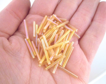17mm Glass Bugle Beads, Golden Yellow Tubes (100 Pieces per Order)
