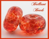 Blood Orange Sorbet Spacer Bead Pair...Handmade Lampwork Beads SRA, Made To Order