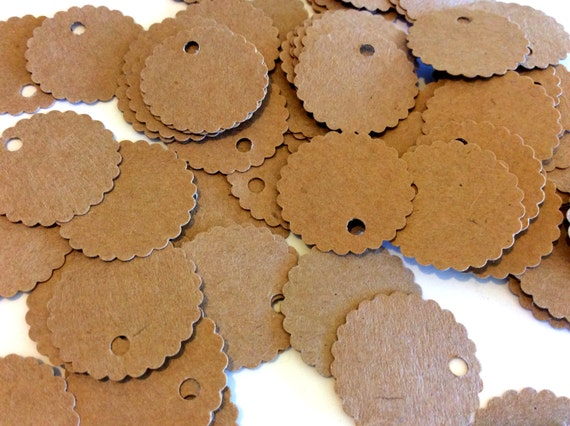 Scalloped price tags, labels, gift tags, 1 inch, set of 100, jewelry tag