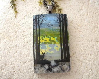 Deer Forest Scene - Fused Dichroic Glass Pendant - Tree Pendant  - Deer Forest Necklace - Forest Necklace - Fused Glass Jewelry - 100114p120