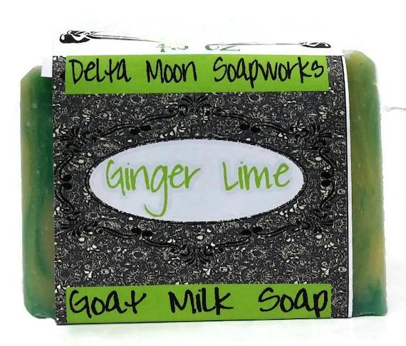 Soap - Ginger Lime Goat Milk Soap, avocado oil soap, unisex soap, citrus soap,sensitive skin soap, handmade cold process soap,olive oil soap