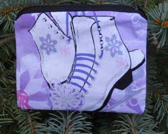 Ice Skates coin purse, gift card pouch, credit card pouch, The Raven