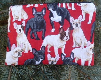 French Bulldogs zippered bag, make up bag, cosmetic case, accessory bag, French Bulldogs on Red, The Scooter
