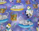 Timeless Treasures 1 Yard  Cotton Fabric Cats Kitty