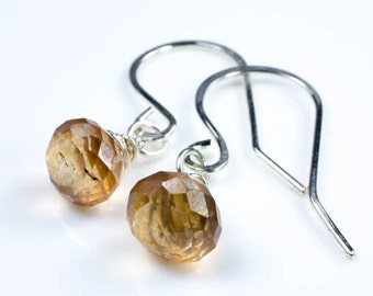 Apricot Quartz Onion Drop Gemstone Silver Earrings