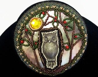 Pewter Owl Beadwoven Brooch . Rhinestone Moon . Genuine Coral . Beadwoven Bezel . Halloween Owl - Night Owl Brooch by enchantedbeads on Etsy