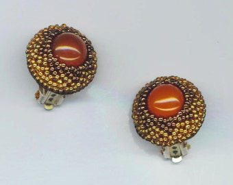 Beadwoven Carnelian Earrings . Beaded Clip On Earrings . Carnelian Cabochon . Golden Seed beads- Perfect Ear Clips by enchantedbeads on Etsy