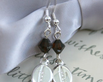 Sterling Coffee Bean earrings with Mocha crystal accents