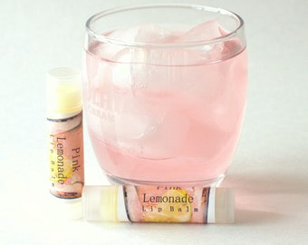 Pink Lemonade Lip Balm, Sweet Scented, All Natural, Lemon Flavor, Food Lip Balm, Kid Flavored, Birthday Gift, Wedding Favor