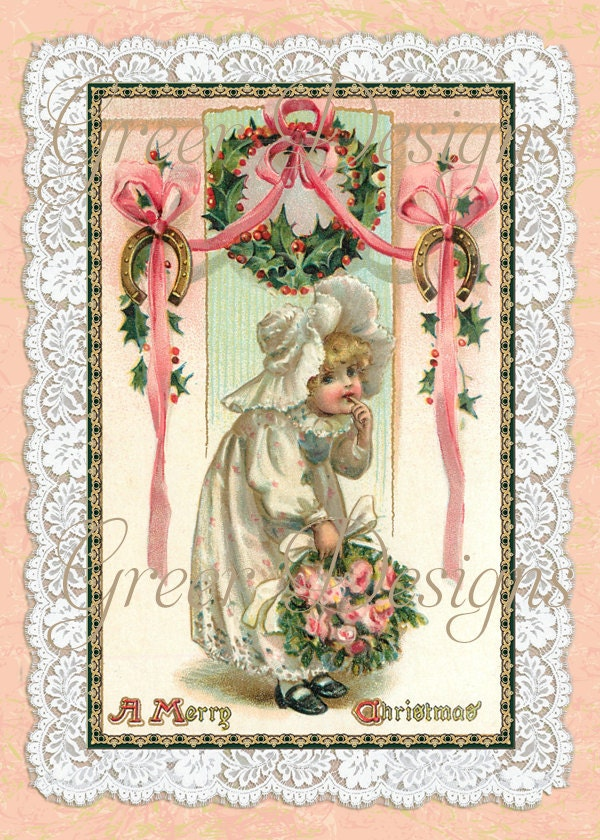 Printable Christmas Card LIttle Girl Child with Roses and Holly Wreath Lace Vintage Victorian Two Versions