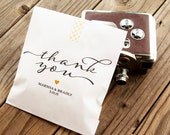 Wedding Favor Bags -  Wedding Cookie Bag, Candy Favor Bag - Vintage Wedding Thank You Script - White Wax Lined Bags - 25 Favor Bags