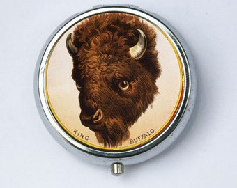 Buffalo Head PILL CASE pillbox pill box holder animal