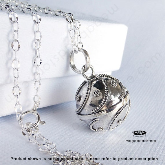 Pregnancy Necklace Mexican Bola 16mm Harmony Ball with 36 inches Chain 925 Sterling Silver P47CH67