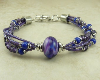 Magical Midnight Lampwork Bead Bracelet - Multi-strand Amethyst Purple Blue Lavender Lilac Magic Mystery Fairy - I ship Internationally
