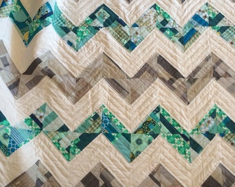Patchwork chevron quilt - large throw sized