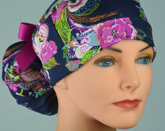 Scrub Hats // Scrub Caps // Scrub Hats for Women // The Hat Cottage // Ponytail // Zinnia Paisley