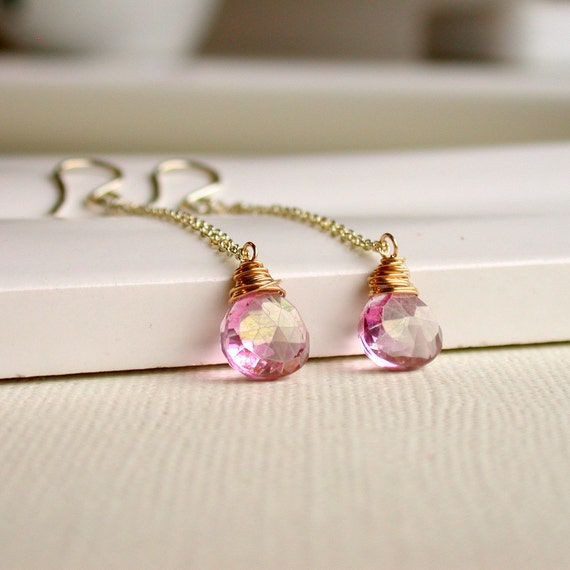 Mystic Pink Quartz Drop Earrings. Wire Wrapped Mystic Earrings. Mixed Metal Earrings. Earrings. Dangle Earrings. Drop Earrings. Artisan.