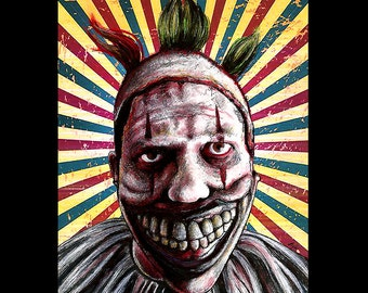"Print 8x10"" - Twisty the Clown - American Horror Story John Carrol Lynch Dark Art Halloween Freak Show Circus Sideshow Serial Killer Clowns"