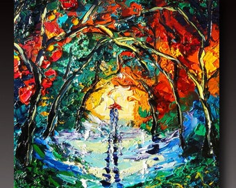 Oil Painting Rainy Night ART Palette Knife Oil  Painting