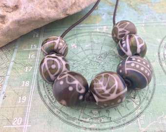 Batik- Lampwork Glass and Leather Necklace