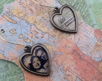 Vintage Couple- tiny heart earrings