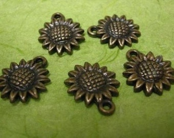 20pc antique bronze acrylic sunflower charm-1332x2