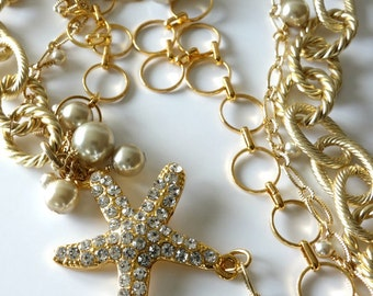 Multi Strand Gold Chain Necklace, Rhinestone Starfish, Champagne Glass Pearls, Twisted Rope Chain, Nautical Beaded Jewelry, Ocean, Beach
