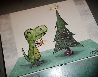 Funny T-Rex Dino Christmas Card  5x7 Greeting Card Blank Greeting inside by Agorables naughty or nice