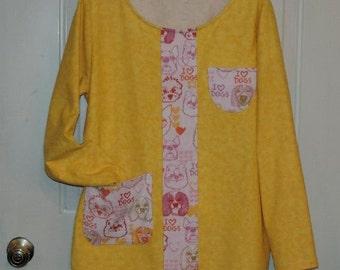 I love dogs pajama set flannel top and bottom sleepwear yellow pajama set