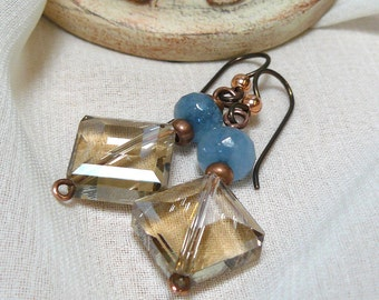 Aquamarine Earrings ~ Copper Dangle Earrings ~ Champagne Crystal Earrings ~ Aquamarine Dangle ~ Crystal Dangle Earrings ~ Blue Earrings