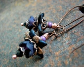 Dainty Night Flower Earrings, Black Faery, Twilight Flowers, Black & Copper, Gothic, Night Blooming, Faery Couture, Elksong Jewelry