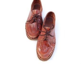 brown leather WOVEN oxford lace up shoes 9