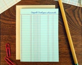 letterpress congrats! count your achievements ledger paper greeting card ledger office accounting congrats card