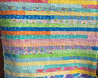 Stripes and strips Lap Quilt