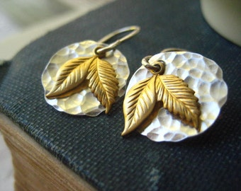 mixed metal earrings, sterling silver, brass leaves, sterling discs, textured discs, hammered sterling, mixed metals, golden leaves