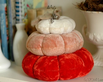 Stacked Velvet Pumpkins, Fall, Ombre, Autumn, Halloween, Thanksgiving, Recycled, Vintage Velvet, Winter White, Salmon Pink, Bittersweet